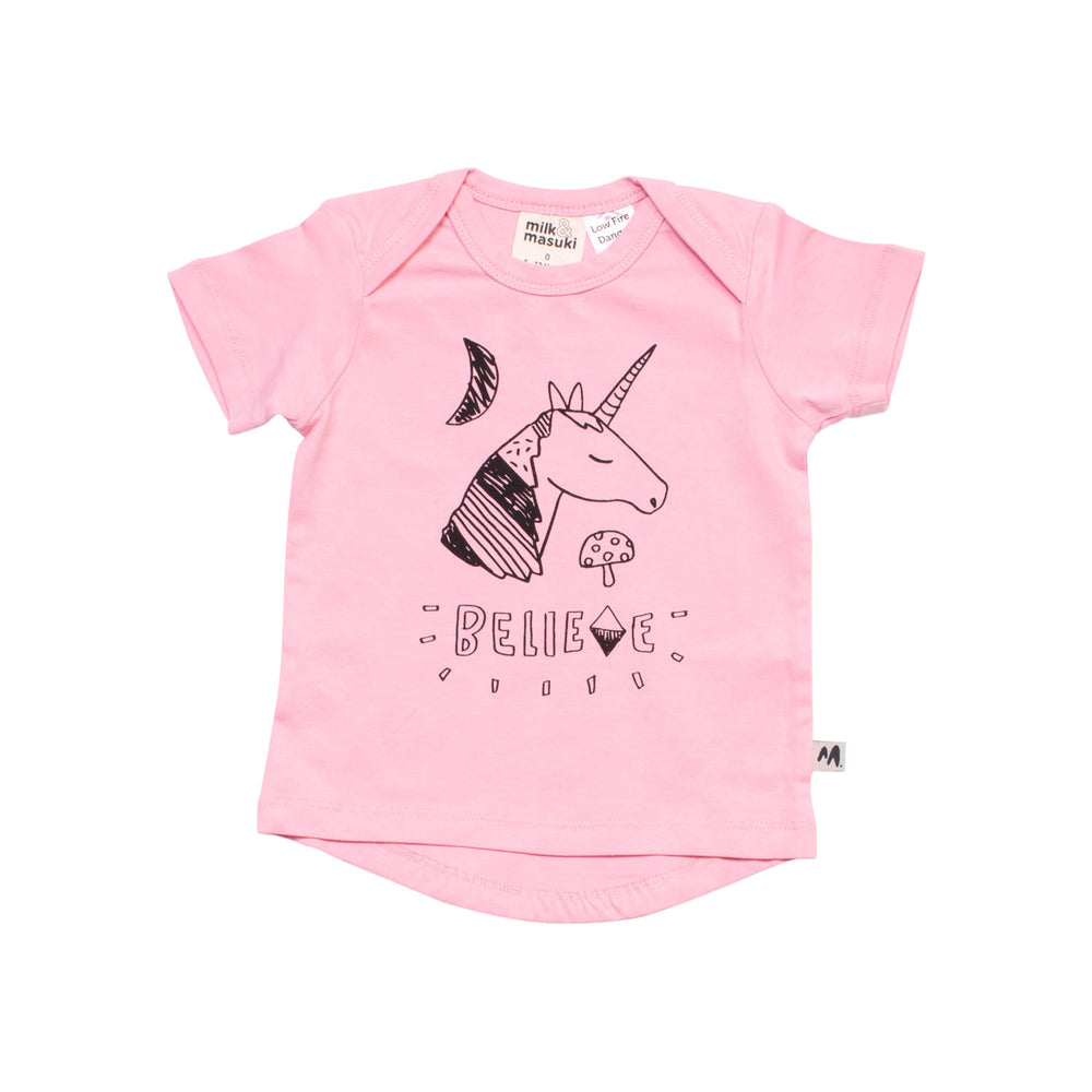 Milk & Masuki | Believe Pink Short Sleeve Tee - Size 000 LAST ONE
