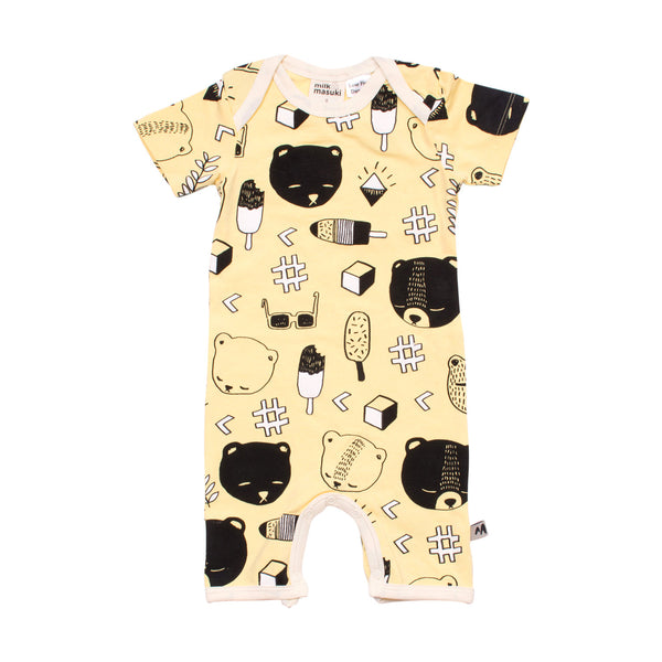 Milk & Masuki | Bear's Picnic Short Sleeve Button All - Size 1 LAST ONE