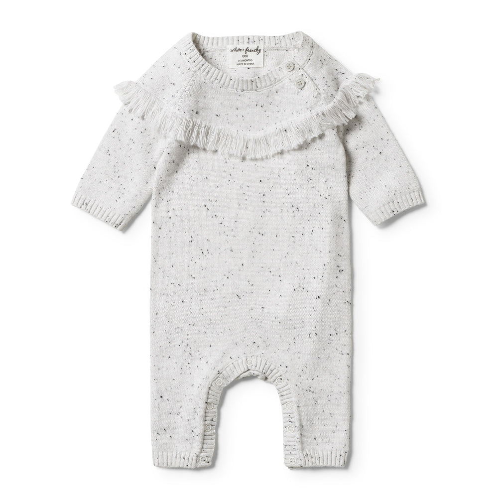 Wilson & Frenchy | Grey Speckle Knitted Growsuit - Size 12-18m LAST ONE