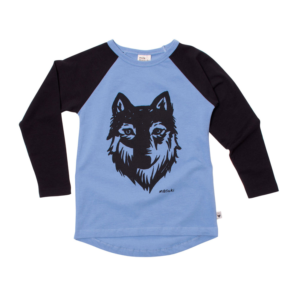 Milk & Masuki | Long Sleeve Raglan Tee - Wolf Placement