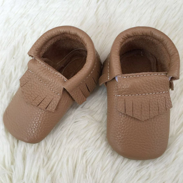 "Our Little Moccs ""Caramel Kisses"" Leather Moccasins - Size 6-12m LAST ONE"
