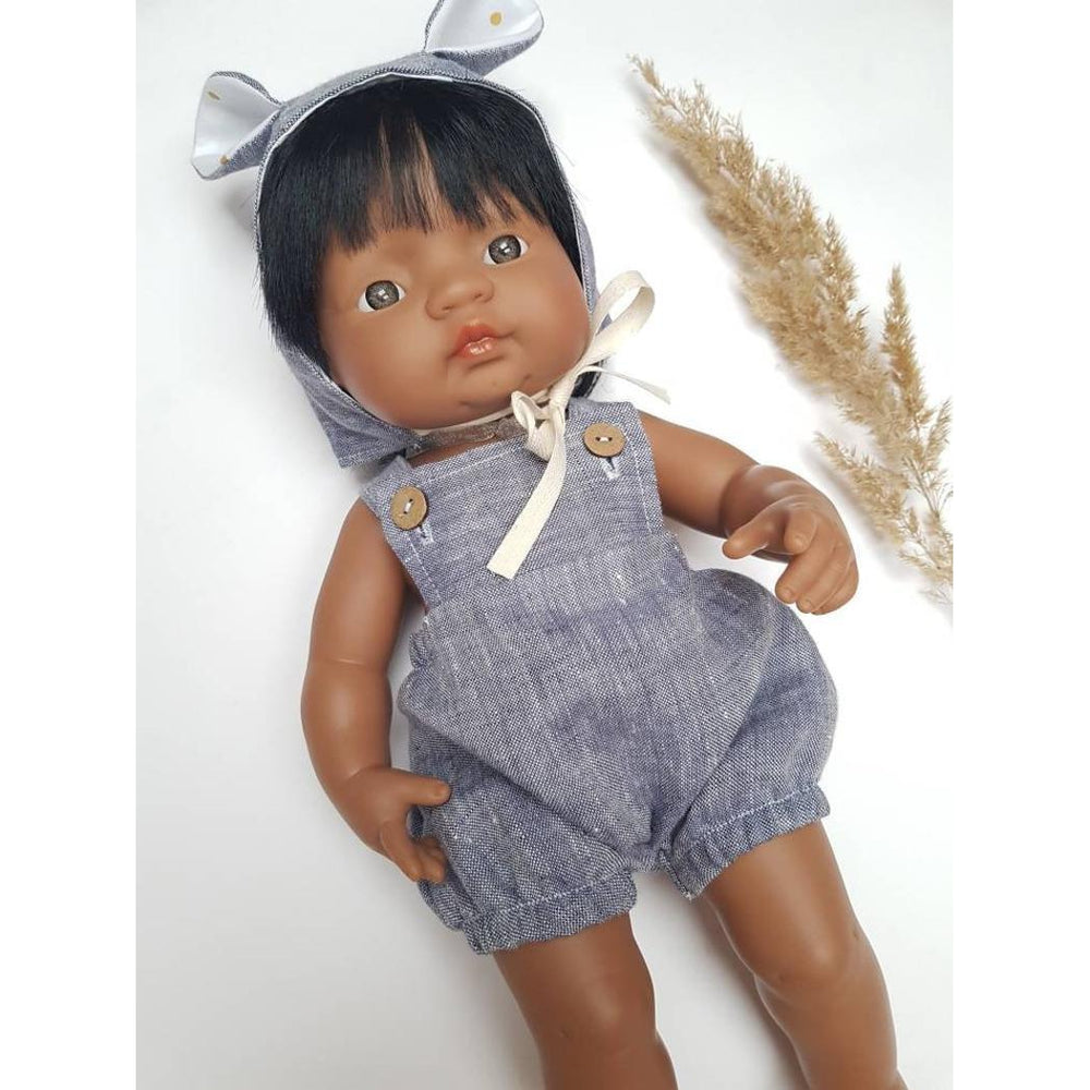 Przytullale | Chambray Blue Linen Romper and Bonnet with Bear Ears - fits 38cm doll