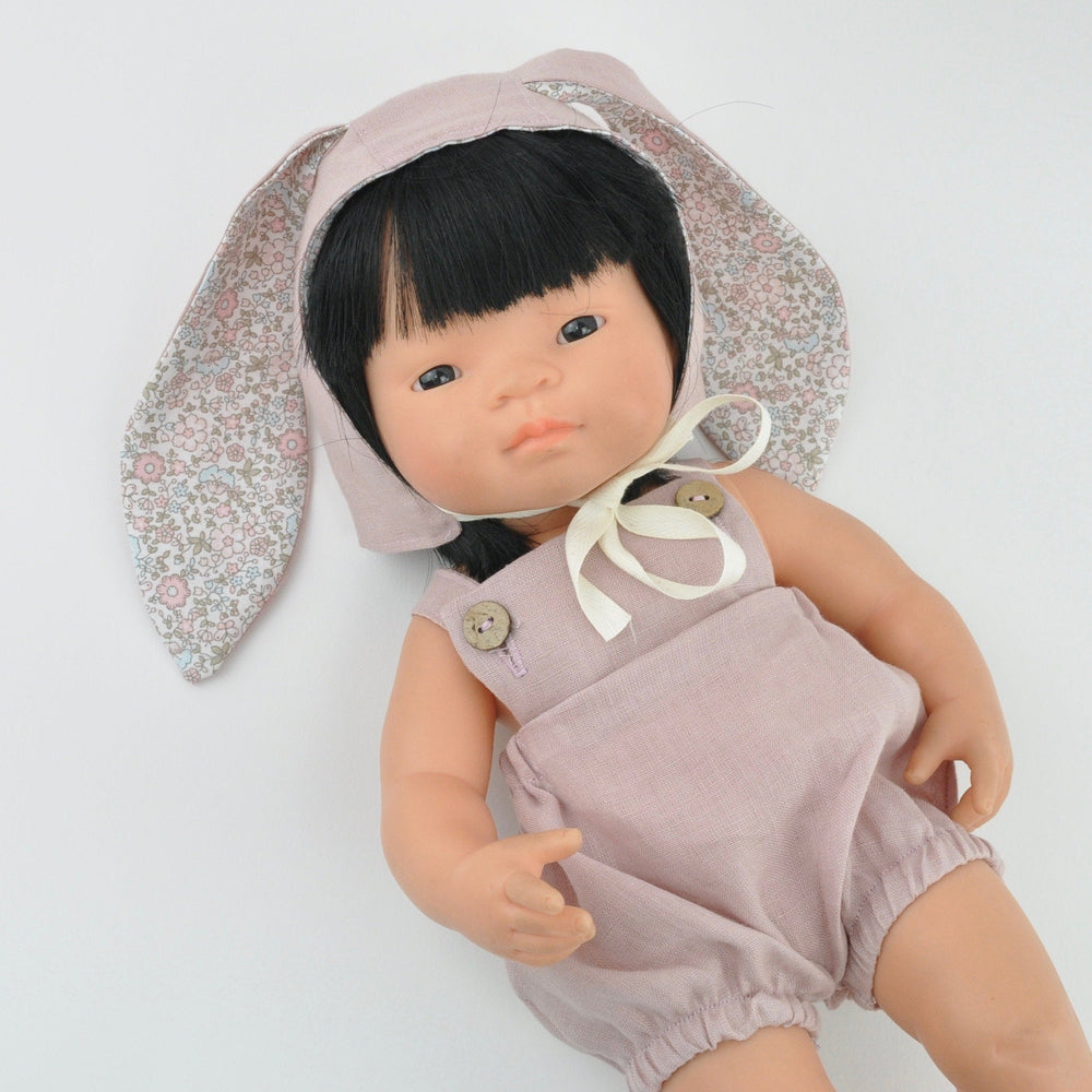 Przytullale | Blush Pink Linen Romper and Bonnet with Bunny Ears - fits 38cm doll
