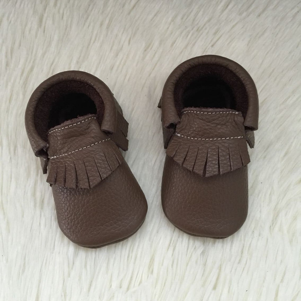 "Our Little Moccs ""Truffles"" Leather Moccasins - Size 12-18 months LAST ONE"