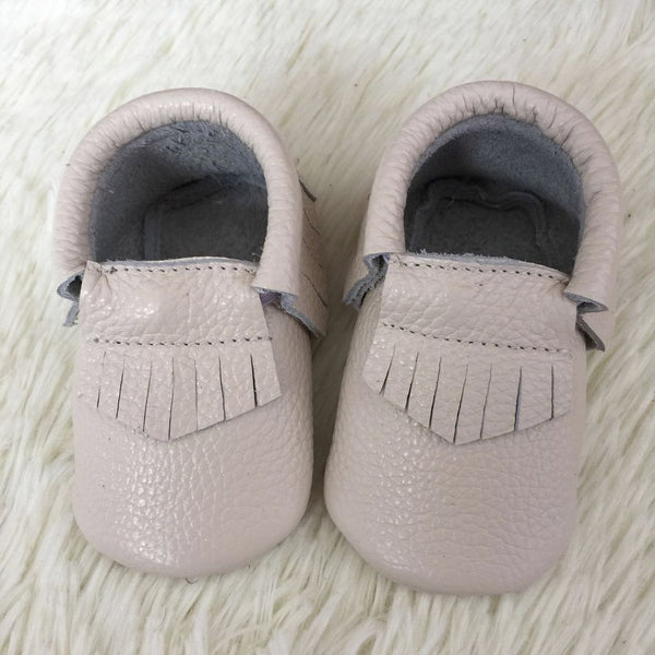 "Our Little Moccs ""Cream Puff"" Leather Moccasins - LAST TWO"