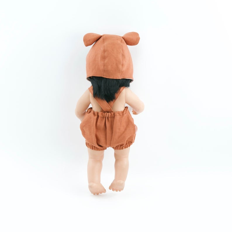 Przytullale | Rust Linen Romper and Bonnet with Bear Ears - fits 38cm doll