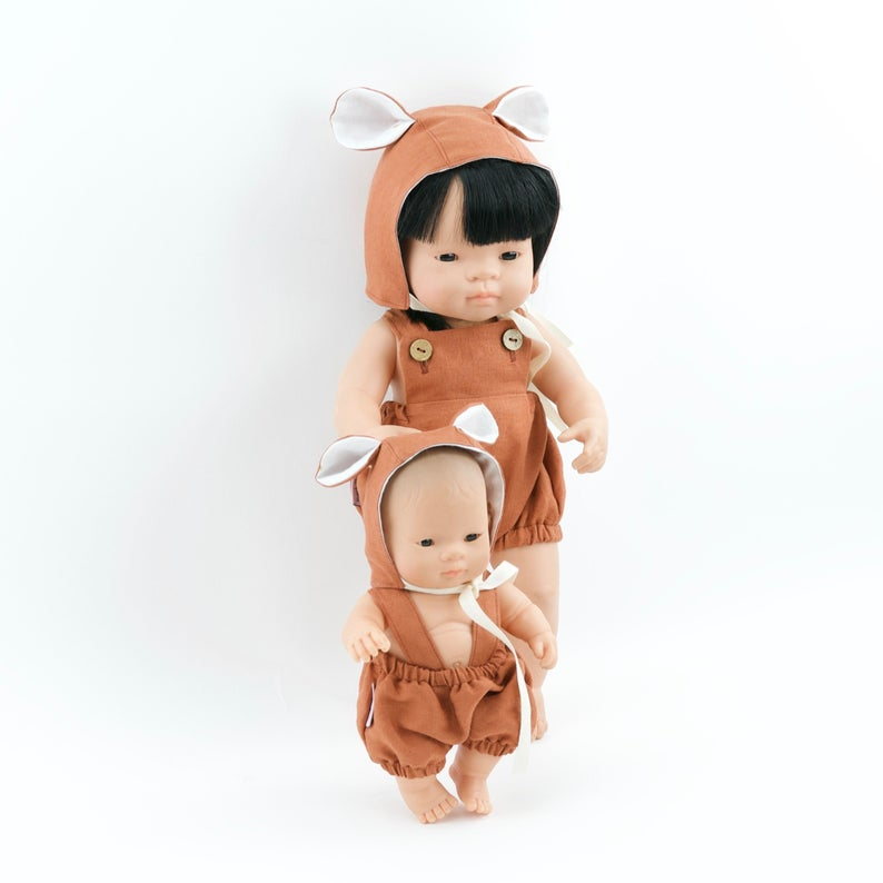 Przytullale | Rust Linen Romper and Bonnet with Bear Ears - fits 21cm doll