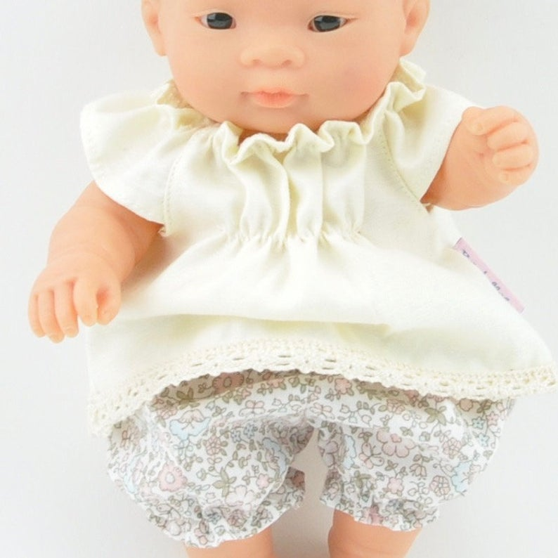 Przytullale | Tunic and Floral Bloomers - fits 21cm doll