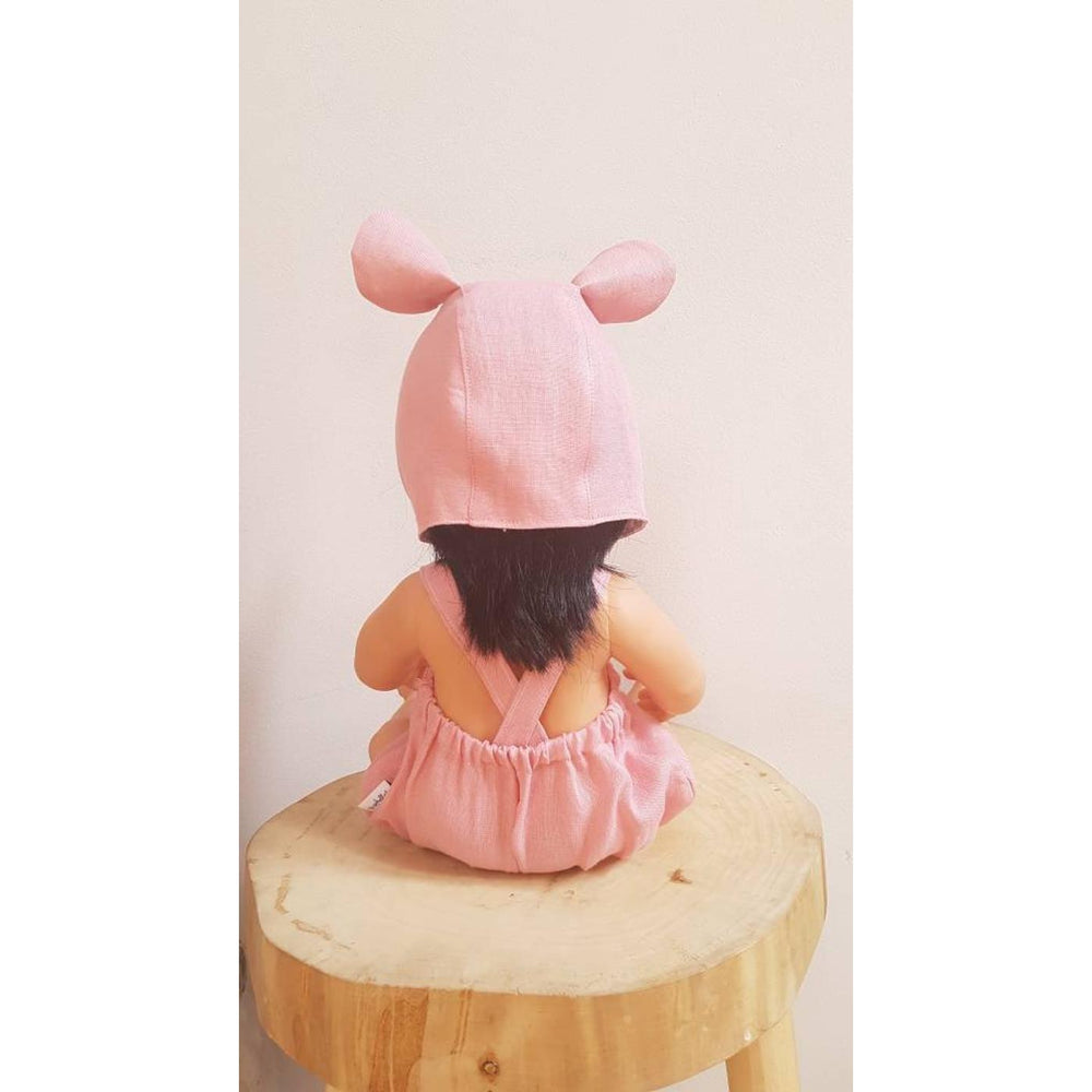 Przytullale | Pink Linen Romper and Bonnet with Bear Ears - fits 38cm doll
