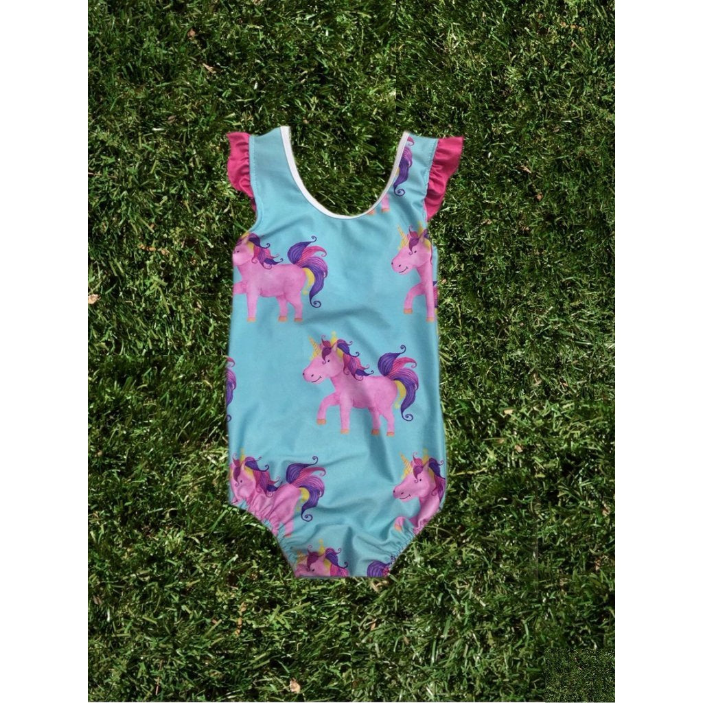 Cheeky Chickadee | Unicorn Girls Swimmers - Blue - LAST TWO