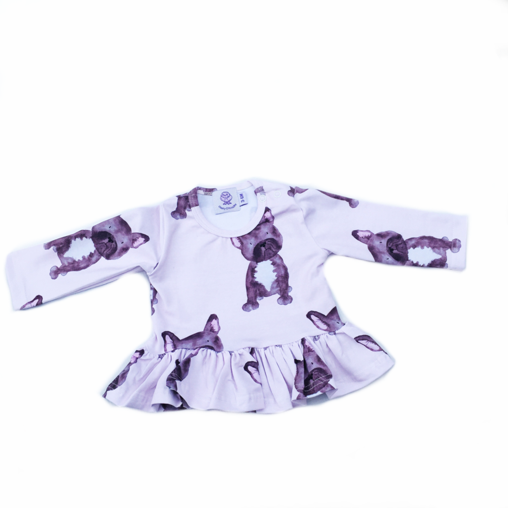 Cheeky Chickadee | Frenchie Frill Long Sleeve Top - Size 5 LAST ONE