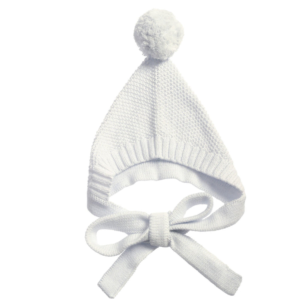 Anarkid | Knitted Pom Pom Bonnet - Lily White - Size 18-24m LAST ONE
