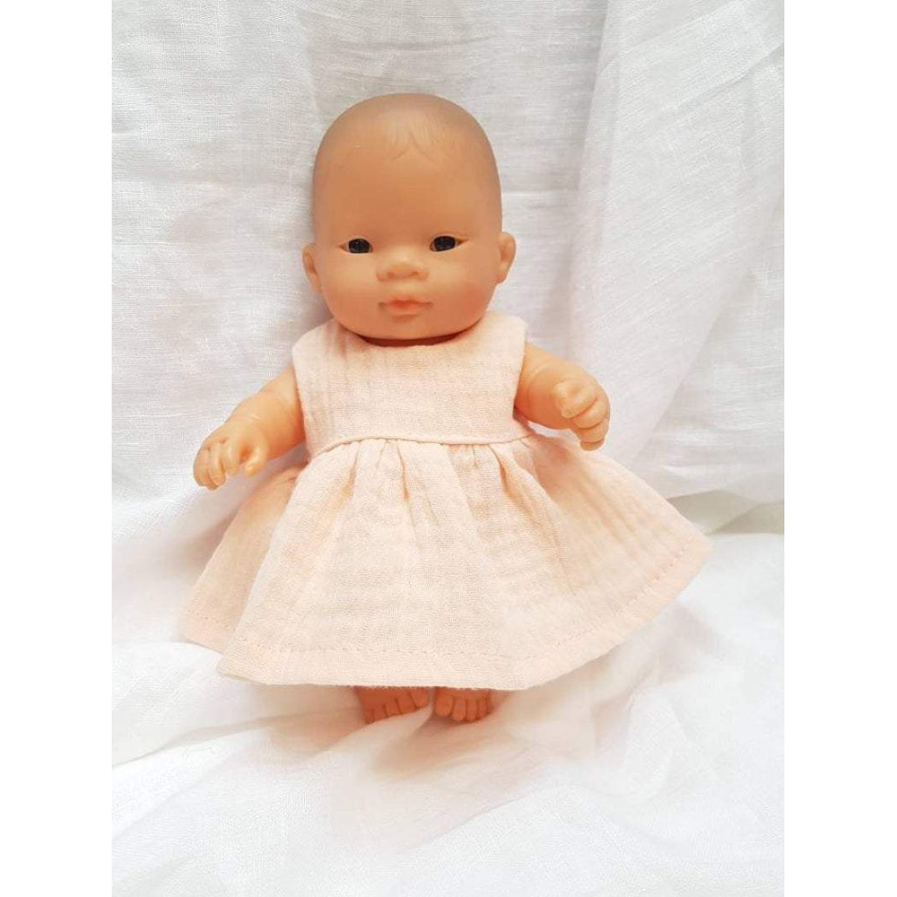 Przytullale | Apricot Muslin Dress - fits 21cm doll