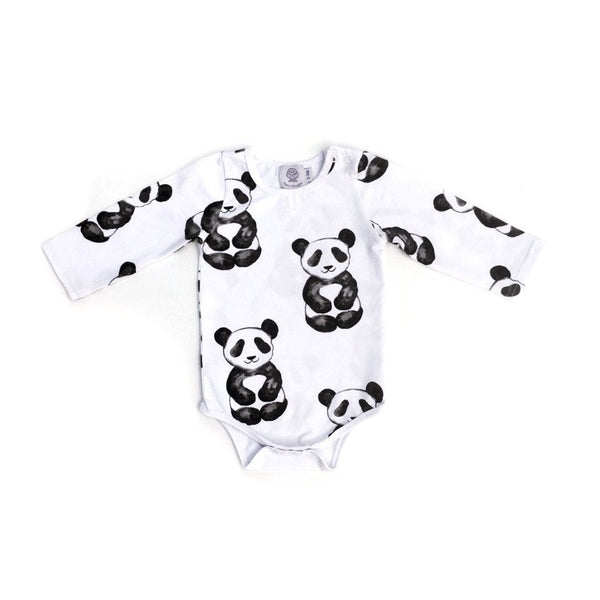 Cheeky Chickadee | Panda Long Sleeve Onesie - MARK NEAR LEG HOLE (see last image)