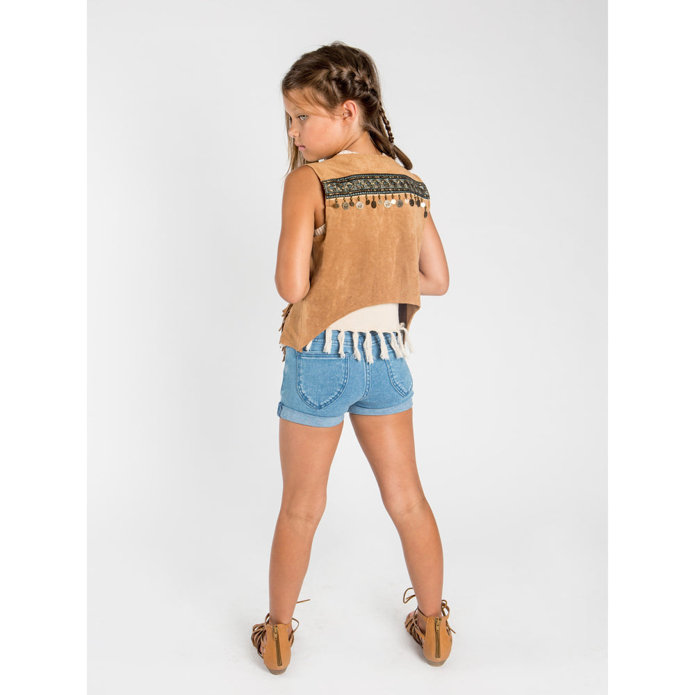 SUDO | Piper High Rise Stretch Denim Shorts - Faded Blue