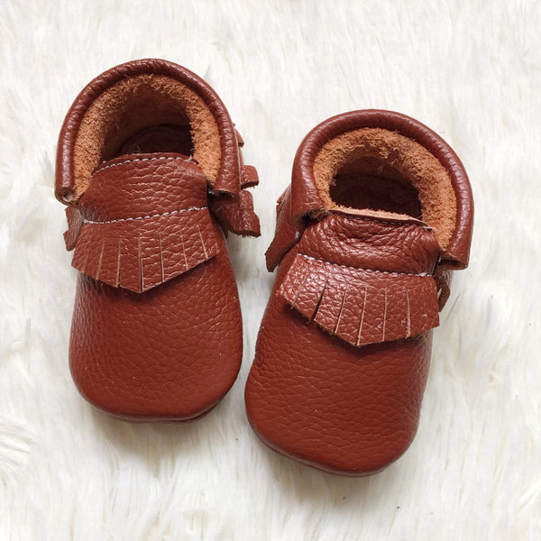 "Our Little Moccs ""Caramel Popcorn"" Leather Moccasins"