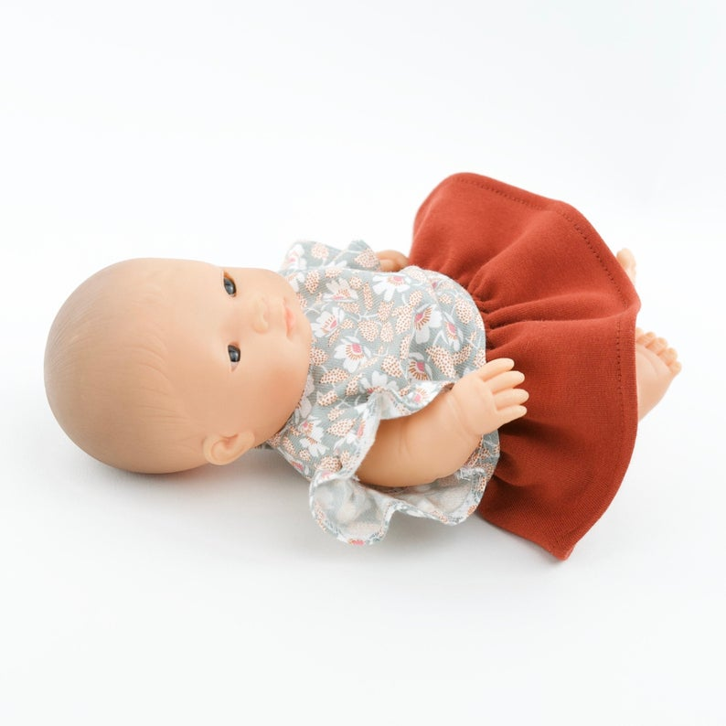 Przytullale | Floral Top and Terracotta Skirt - fits 21cm doll