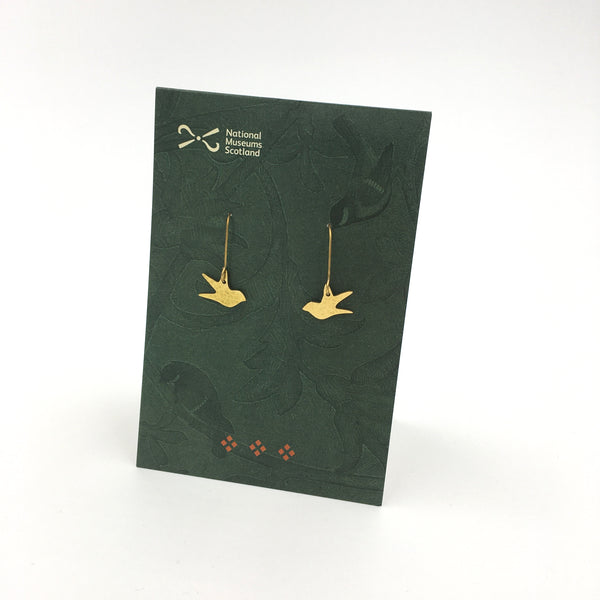 Brass Swallow Earrings