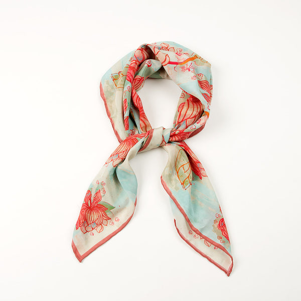 Ming Dynasty Scarf - Red Lotus Flower