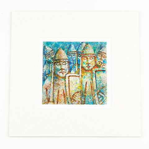 Lewis Chessmen Warder Mounted Print
