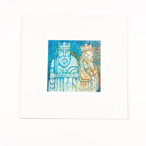 Lewis Chessmen King Mounted Print