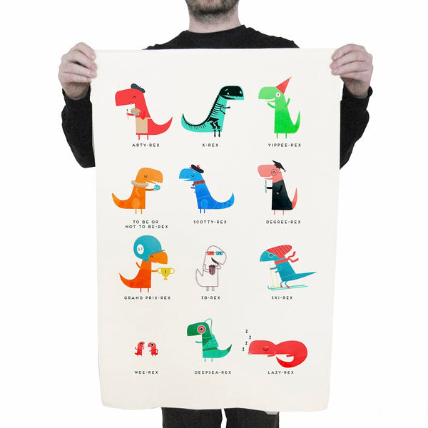 Dino Family Tea Towel