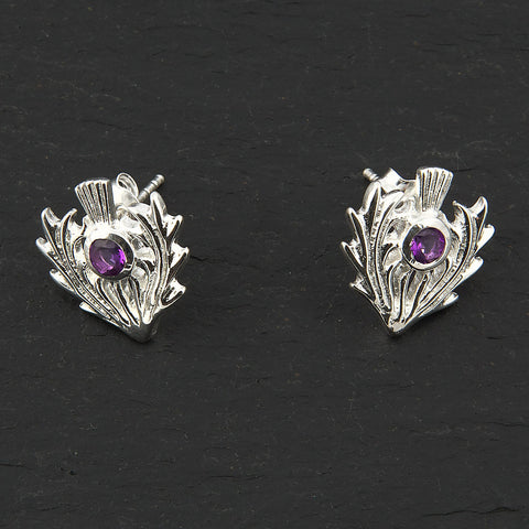 Thistle Earrings - Silver & Amethyst