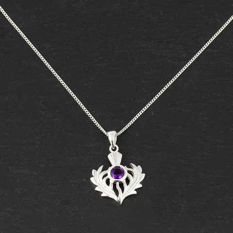 Silver and Amethyst Thistle Necklace