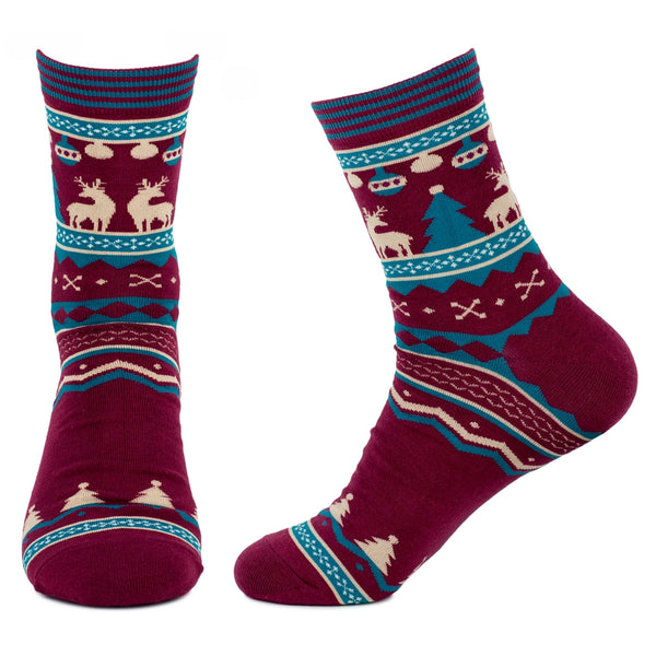 Nordic Tree Socks - Burgundy