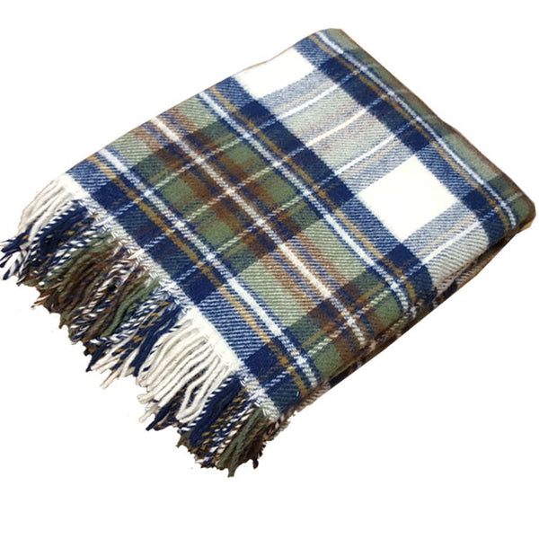 Kinloch Anderson Muted Blue Stewart Tartan New Wool Throw