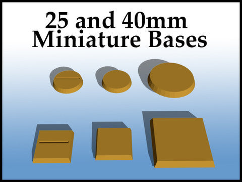FREE!  STL file - 25 and 40 mm Miniature Bases