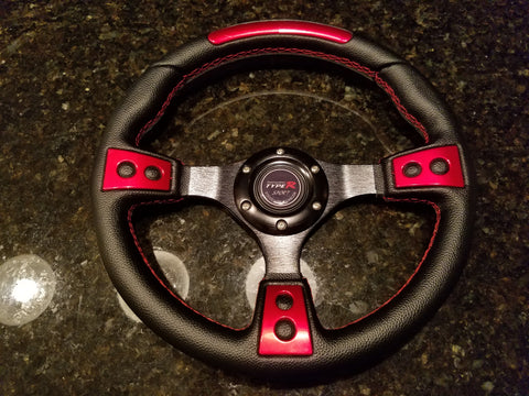 NEW STEERING WHEEL – BLACK & RED / BRUSHED BLACK ALUMINUM