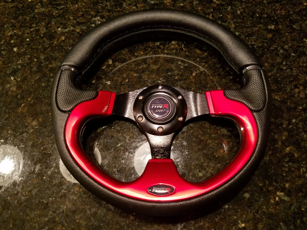 NEW STEERING WHEEL –  RED / BRUSHED BLACK ALUMINUM
