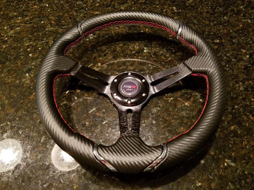 NEW STEERING WHEEL –  CARBON / BRUSHED BLACK ALUMINUM