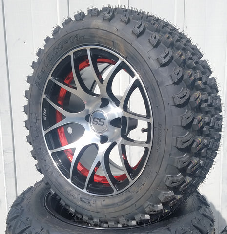 "GTW PURSUIT 14"" OFF ROAD -- MACHINED/BLACK/RED"