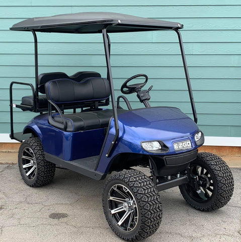 BLUE (LIFTED) EZGO TXT 48V GOLF CART - Call Holly 706-910-6055