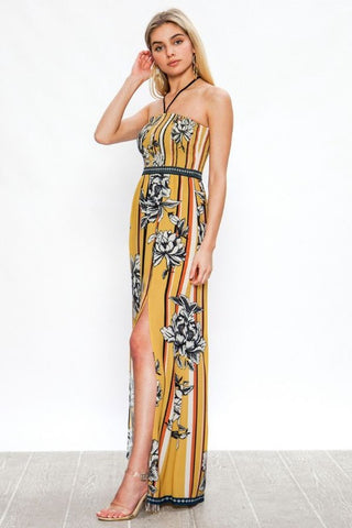 Halter Neck Mustard Striped Floral Maxi