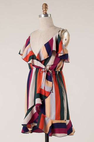 Multi Color Striped Ruffle Trim Dress