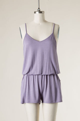 Knit Romper w/ side pockets Lavender