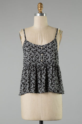 Tank w/ Button Detail Black Floral Ruffled