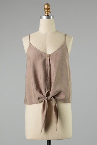 Tank Button Detail Tied Taupe