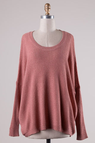 *Fav Knit Sweater Salmon Pink