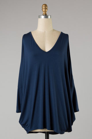 *Open Sleeve Dolman Top Navy Blue