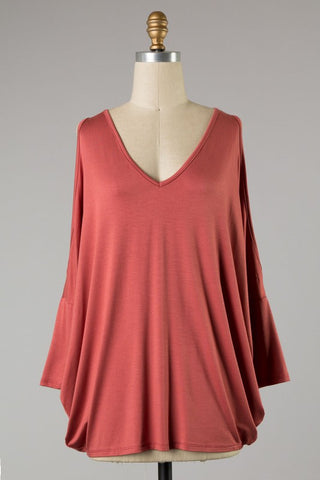 *Open Sleeve Dolman Top Rust