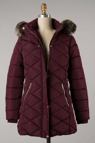 *Diamond Quilted Puff Coat w/ Fur Hood Wine