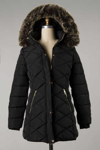 Diamond Quilted Puff Coat w/ Fur Hood Black