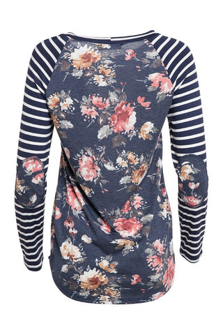 Navy Striped Floral Long Sleeve Top