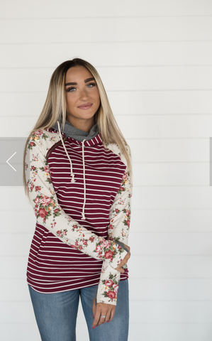 Maroon Striped Floral Avenue Double Hooded Hoodie