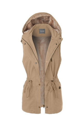 Anorak Fur Lined Hooded Vest Tan Taupe