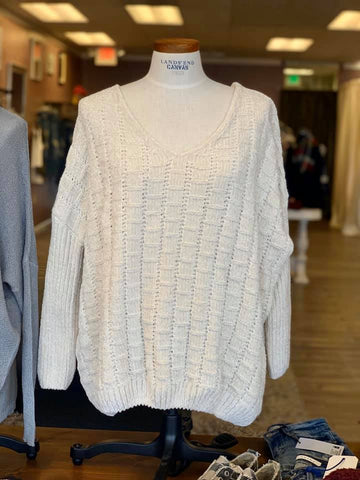 *Chenille Sweater Ivory
